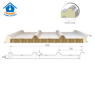 100mm 4 Ribs Fireproof Rockwool Sandwich Roofing Panel with PU Edge